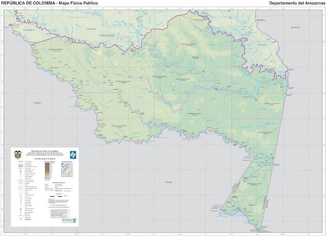 Mapa da Colômbia - Departamento da Amazônia