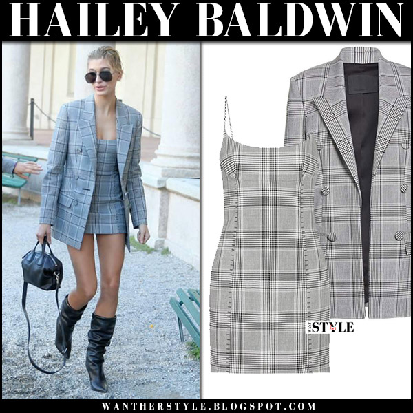 Hailey Baldwin in grey blazer and grey plaid mini dress alexander wang september 20 2017 milan fashion week outfit
