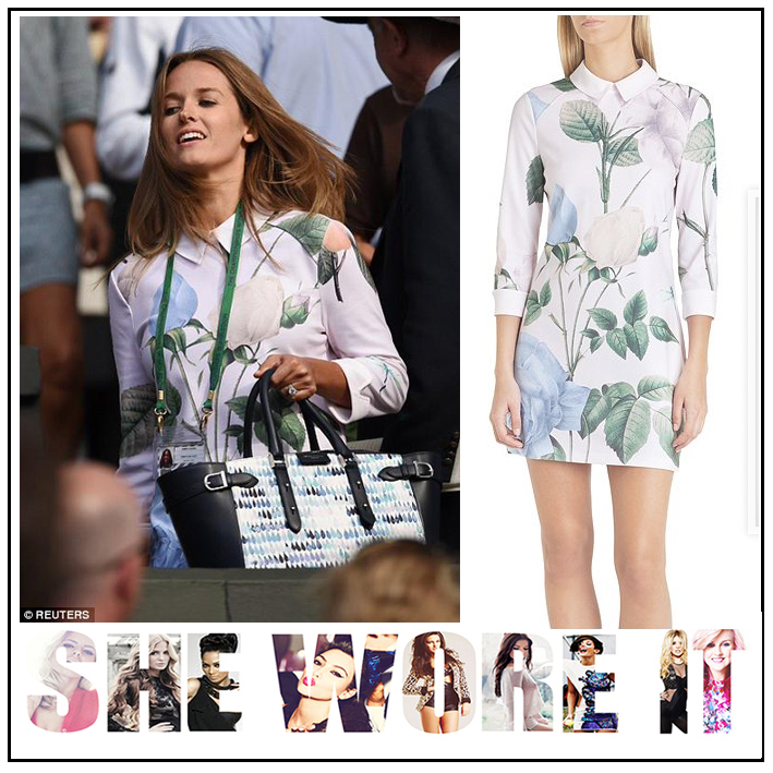 Kim Sears in Ted Baker Calana Nude Cream & Pastel Blue, Green and Pink  Three Quarter Sleeve Fitted Shirt Mini Dress with All Over Oversized Floral  Rose ...