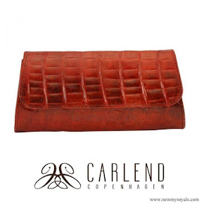 Crown Princess Mary style Carlend Copenhagen aicha medium croco burned orange clutch