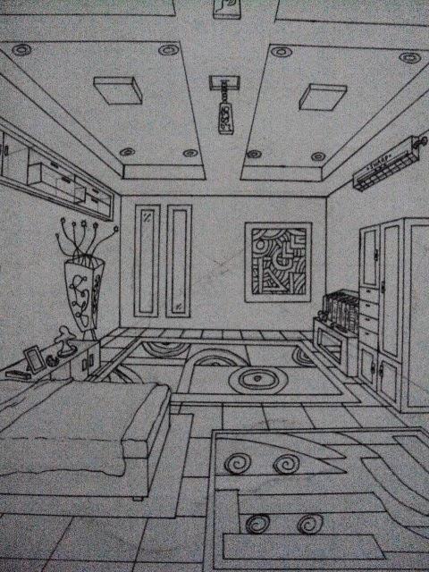 Contoh Gambar Perspektif Desain Interior Kamar Tidur