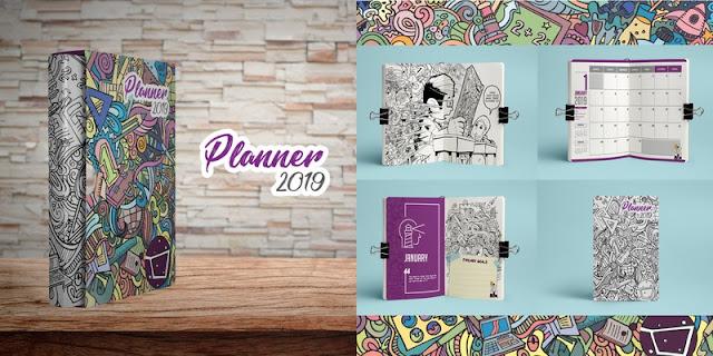 PLANNER DOODLE PERTAMA DI MALAYSIA, PLANNER 2019, DOODLE, TERAPI MINDA, RELEASE STRESS,