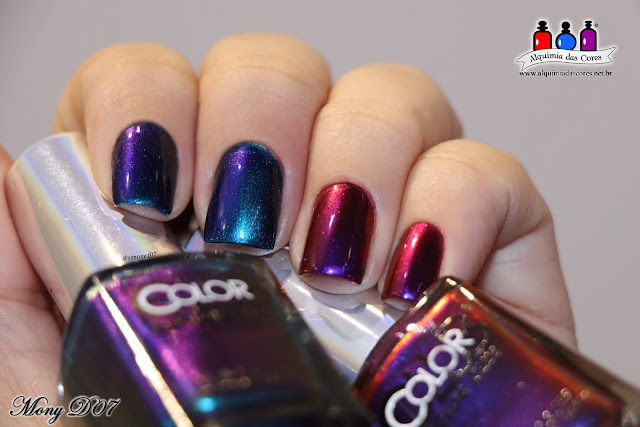 Color Club, It's Raining Men, We'll Never Be Royals, laranja, magenta, roxo, verde, azul, azul royal, multichrome, mutante, oil slick collection, limited, mony D07, Alquimia das Cores, Blogger,
