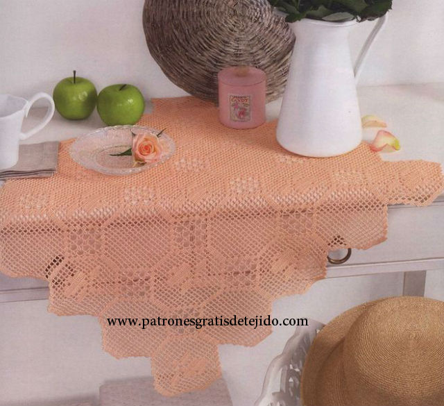 Patrones carpeta cuadrada crochet filet