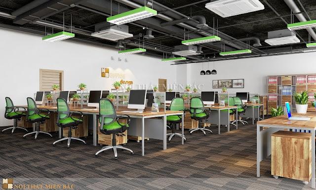 Mẫu thiết kế nội thất văn phòng này với những gam màu xanh từ những chiếc đèn đến những chiếc ghế xoay văn phòng ấn tượng như tạo nên một tổng thể hài hòa có điểm nhấn nhá bắt mắt nhất