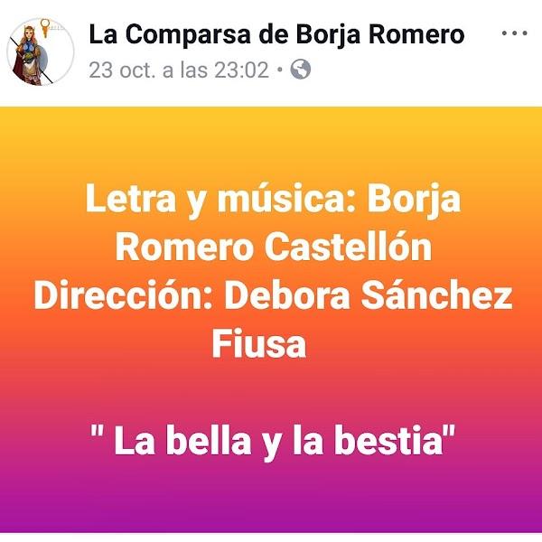 En 2018 fueron 'Las Guerrilleras' en 2019 la Comparsa de Borja Romero Castellón será 'La Bella y la Bestia