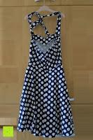 hinten: VKStar® Vintage 50er 60er Tupfe Neckholder Retro Cocktailkleid Rockabilly Audrey Hepburn Swing Kleid Kurz Damen Abendkleid