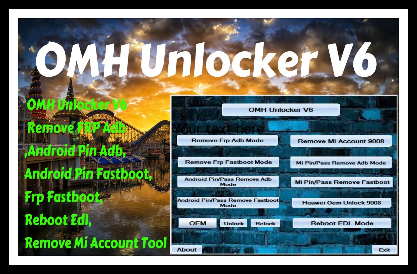 OMH Unlocker V6 Remove FRP Adb,Android Pin Adb,Android Pin