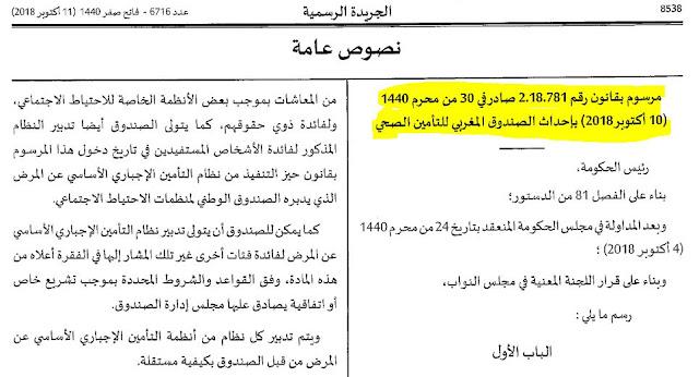 صدور مرسوم بقانون رقم 2.18.781 بإحداث الصندوق المغربي للتأمين الصحي بالجريدة الرسمية