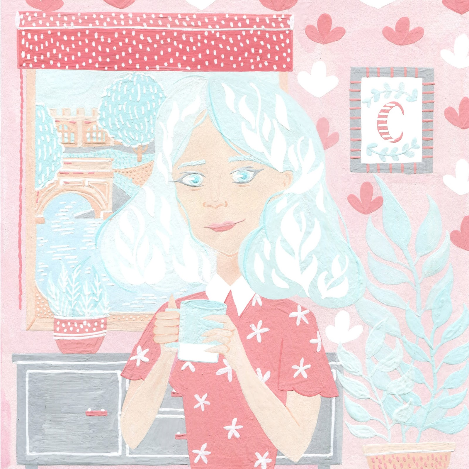 illustratedlady drinking tea in cute apartment