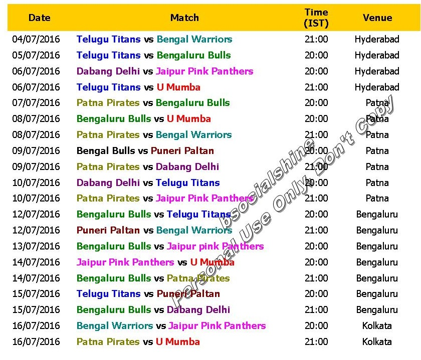 Pro Kabaddi League PKL 4 June 2016 Schedule Amp Time Table
