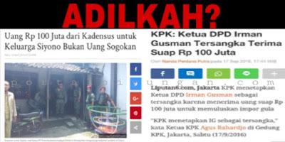 KPK: 100 Jt untuk Keluarga Siyono BUKAN SUAP, Untuk Irman SUAP