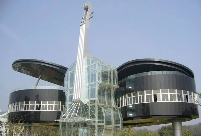 A house in China is designed in the form of a piano and guitar