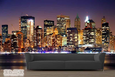 3D Fluorescent wallpaper design for living rooms