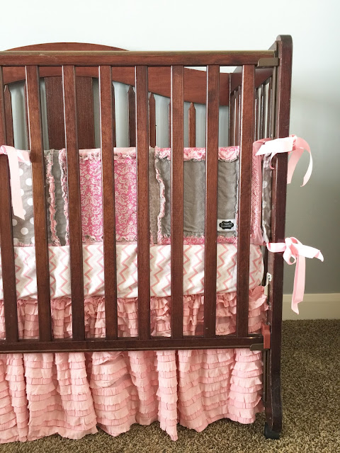 Baby Pink and Gray Custom Crib Bedding