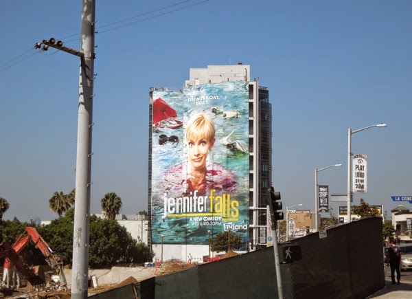 Giant Jennifer Falls billboard Sunset Strip