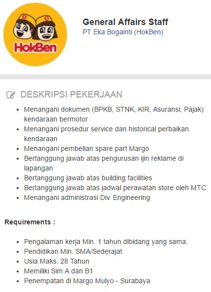 Lowongan kerja Terbaru PT Eka Bogainti (HokBen) 2019