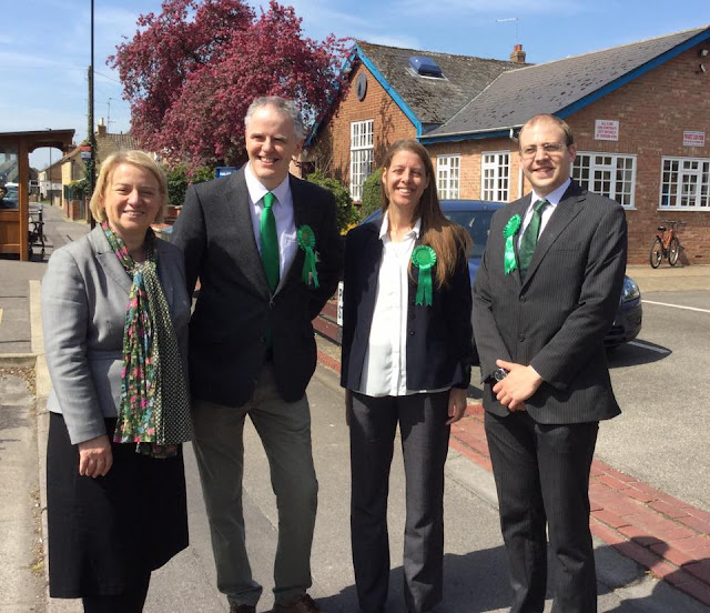 Natalie Bennett (Green Party leader) with Roger Proudfoot, Cherry Beeby & Joseph Wells of Peterborough Green Party