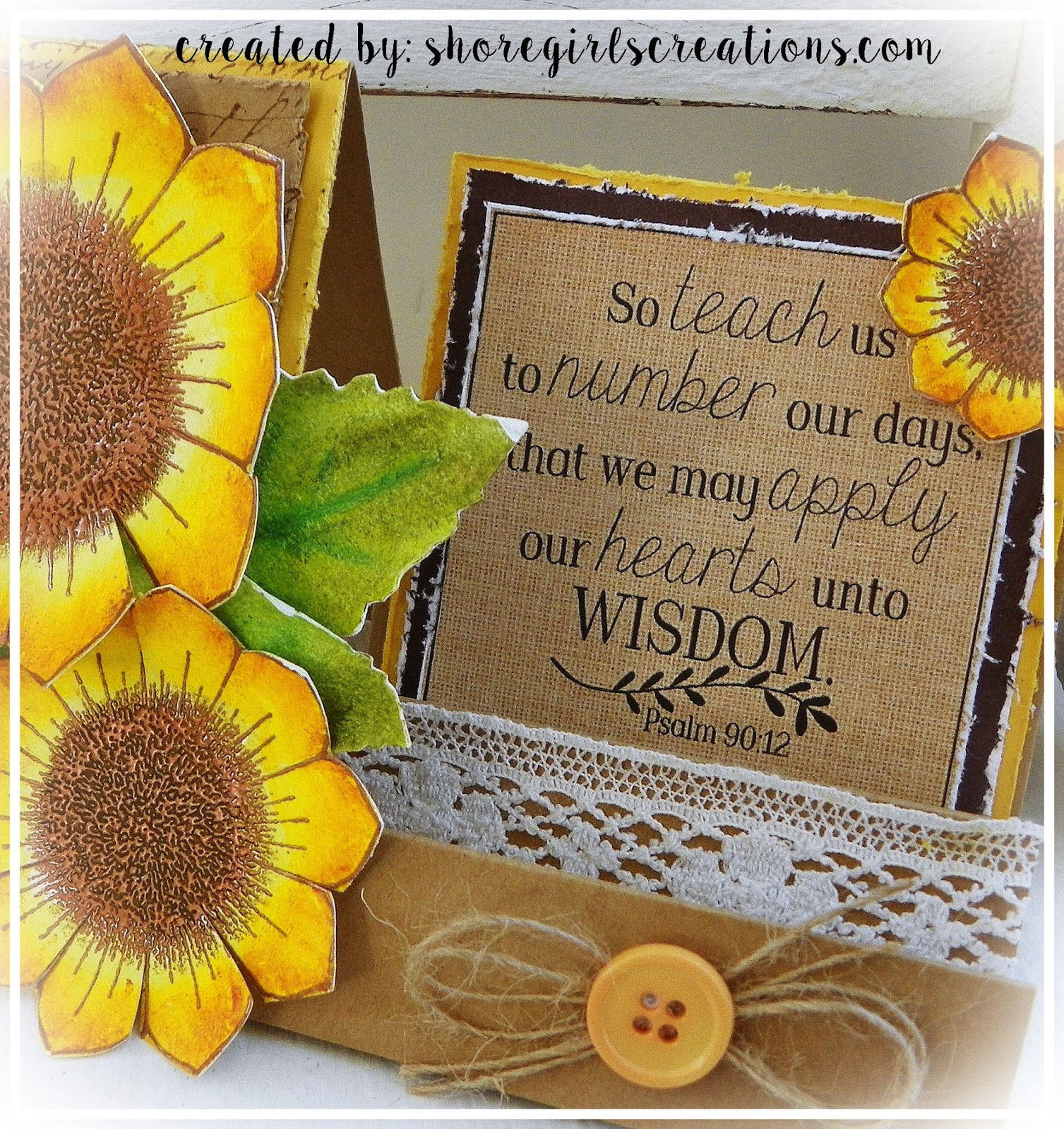 Good I Stamped My Sunflowers On Watercolor Paper And Embossed Them In Copper  Embossing Powder. I Colored The Flowers With Distress Crayons, Blending The  Hues ...