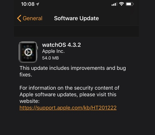watchOS 4.3.2 Features Changelog