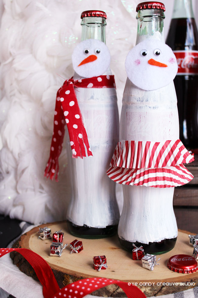 snowman bottle craft, snow woman, coca cola bottle craft idea