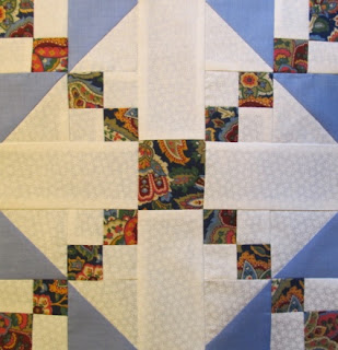 Quilt pattern block tutorial made of triangles and squares
