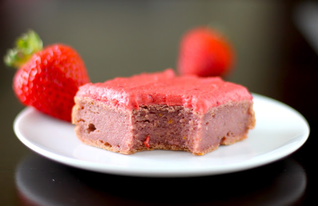 Healthy Strawberry Blondies with Strawberry Frosting