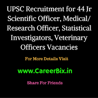 UPSC Recruitment for 44 Jr Scientific Officer, Medical/ Research Officer, Statistical Investigators, Veterinary Officers Vacancies
