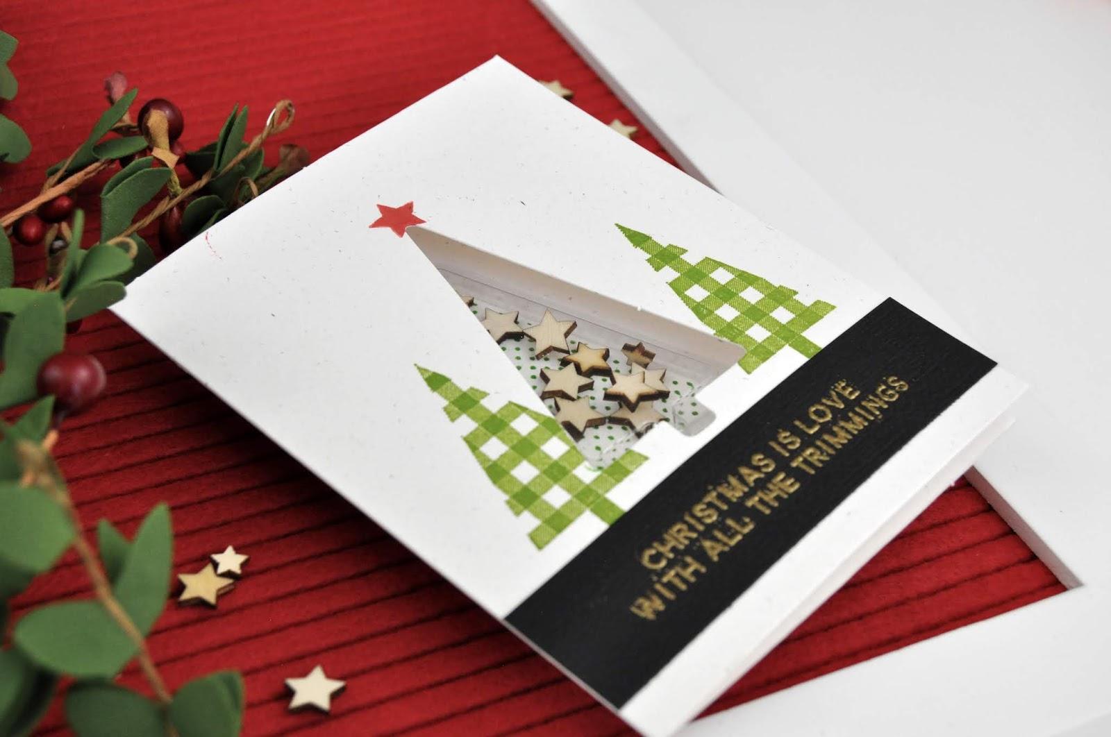 Crafty YouTuber Blog Hop: Jen Gallacher's Jillibean Soup Shape Shaker Christmas Tree card. #shakercard #jengallacher #jillibeansoup