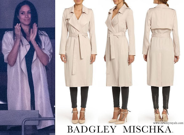 Meghan Markle wore BADGLEY MISCHKA Faux Leather Trim Long Trench Coat