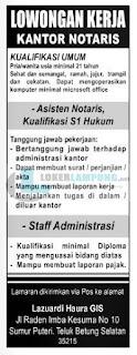 Karir Lampung Terbaru di Kantor Notaris Lazuardi Haura GIS September 2016