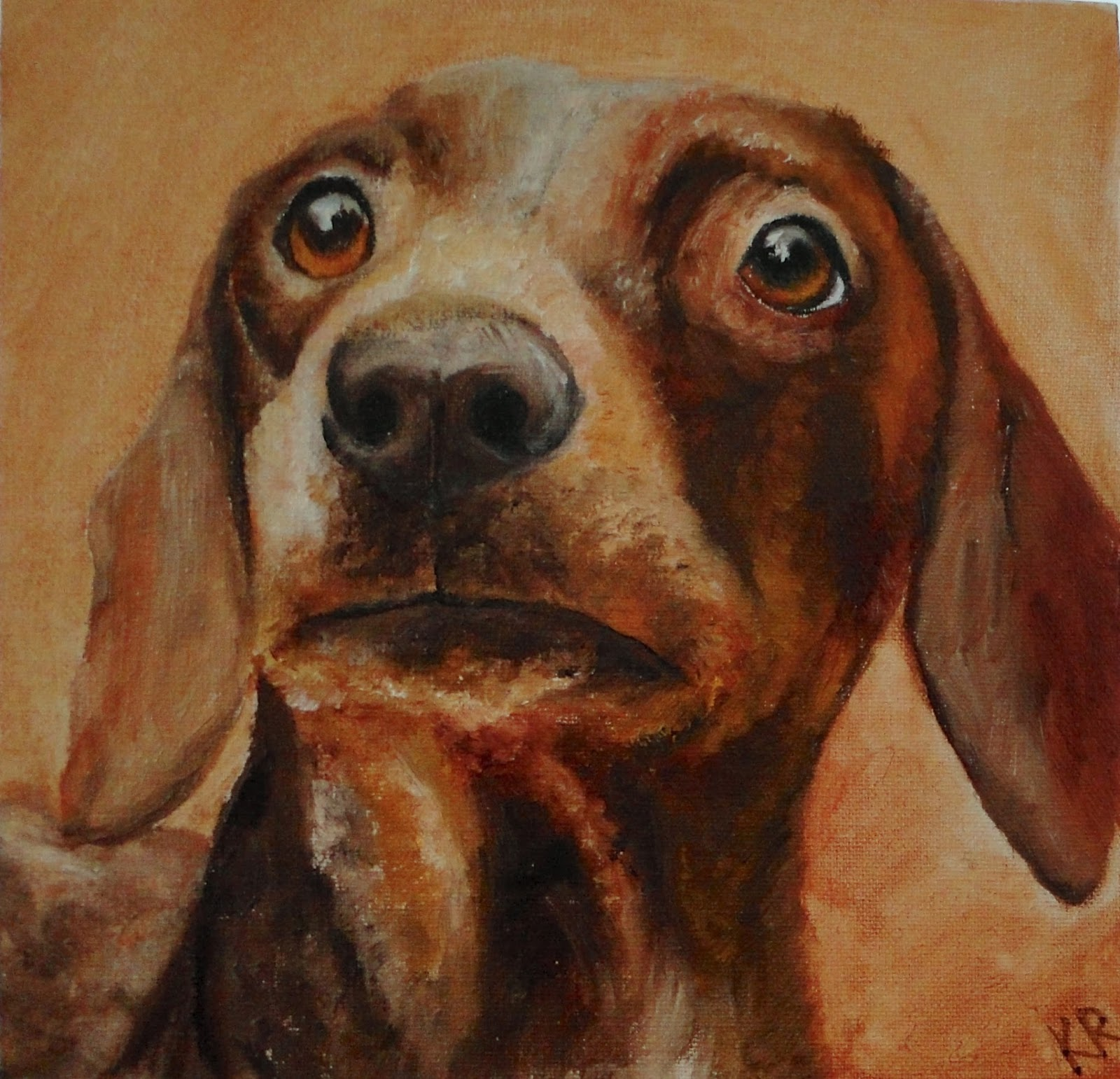 Dachshund oil painting, a pet portrait by Karen