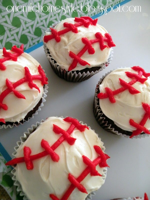 Sports Theme Birthday Party - Baseball Cupcakes