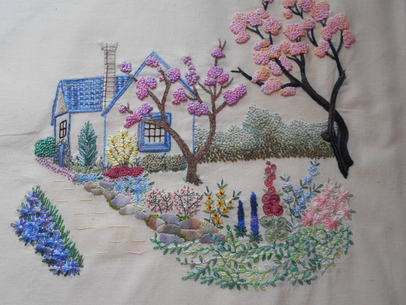 pinterest embroidery, Hayfield Cottage: Embroidered House and Flowers