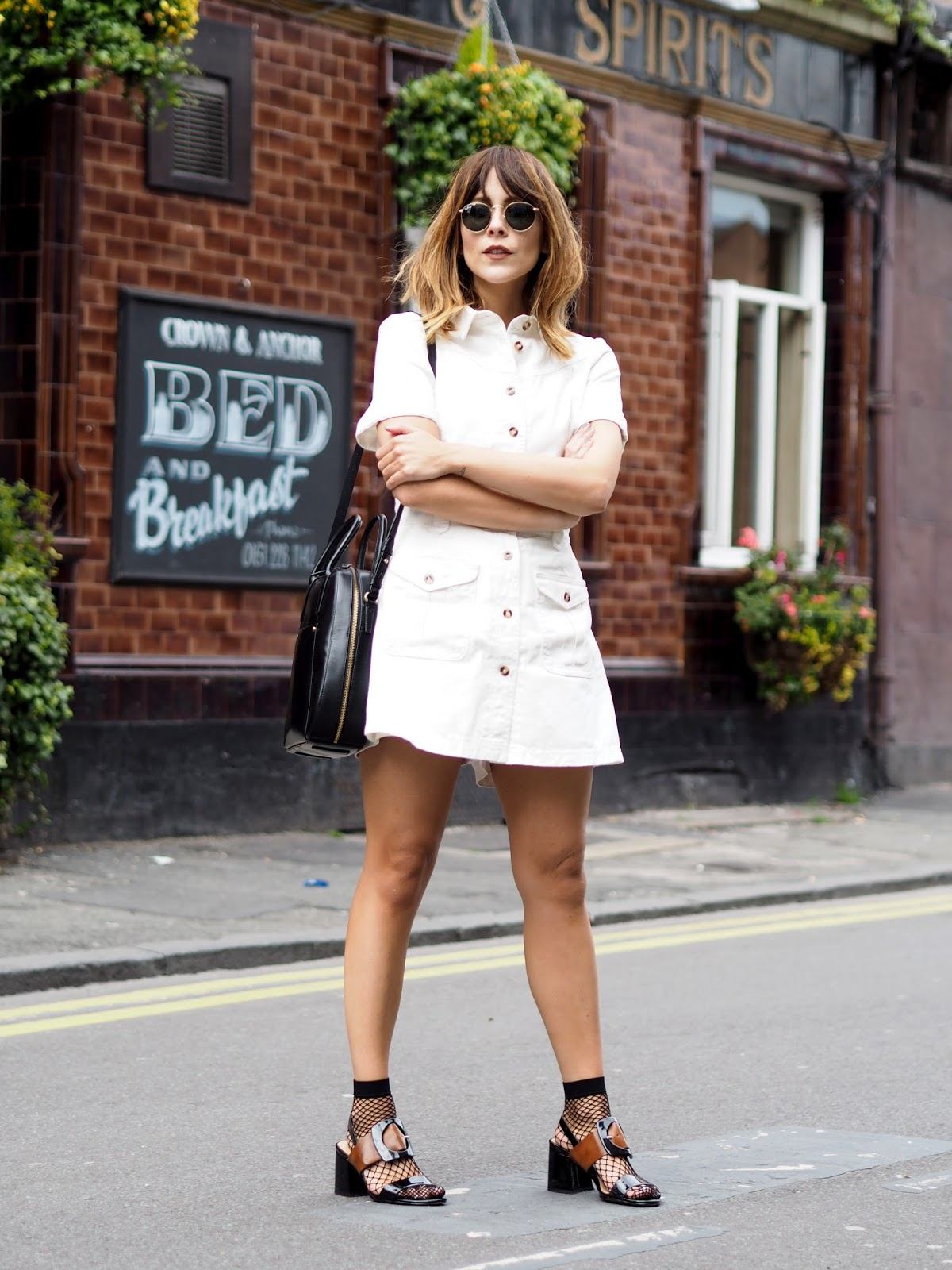 Everyday summer look with Lost Ink dress at ASOS and Ray Ban Round Metal Sunglasses