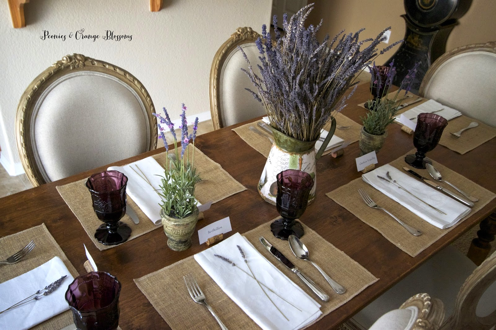 Lavender French Country table with burlap, dried lavender, purple goblets - Peonies and Orange Blossoms