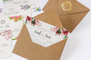 convite rustico com envelope