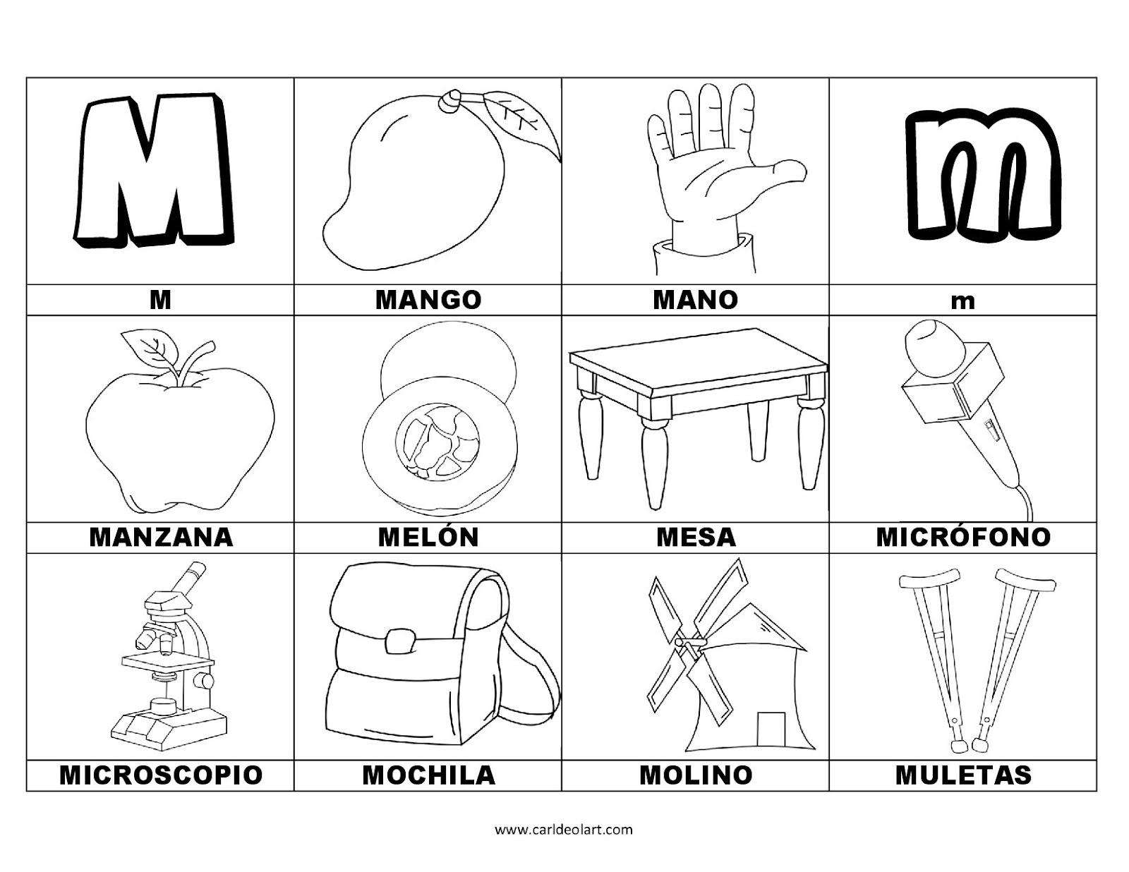 Dibujos Para Colorear Palabras Con M Dibujospacolorear
