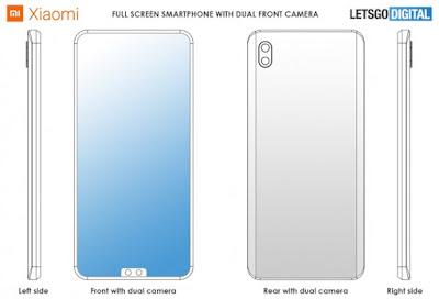 Xiaomi Patenkan Kamera Selfie Ganda Bawah dan Desain berlekuk