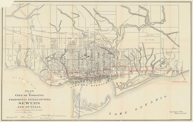 Map: 1889 Hering & Gray: Proposed Intercepting Sewers and Outfall - Toronto