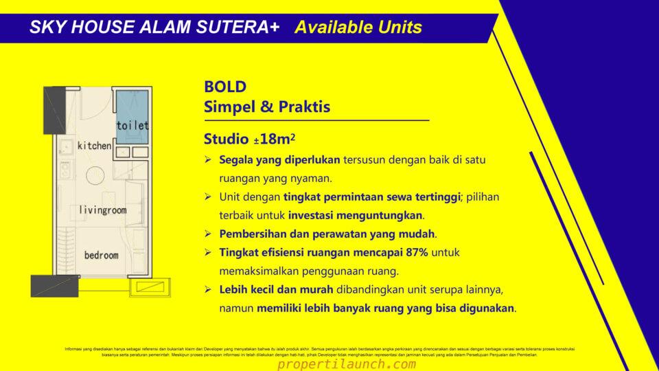Tipe Studio Apartment Sky House Alam Sutera