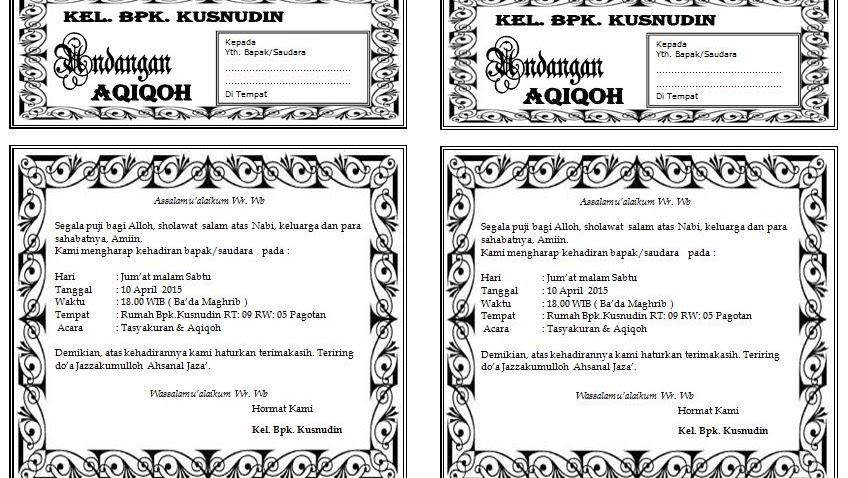 Download Undangan Aqiqah Ukuran Setengah F4 Folio Hvs Flsc