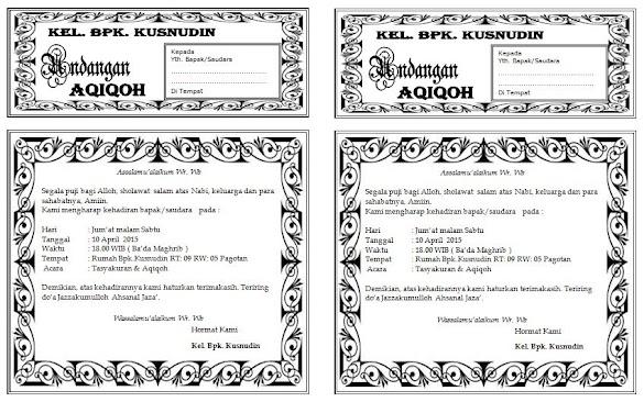 Download Undangan Aqiqah ukuran setengah f4 / folio / HVS / FLSC