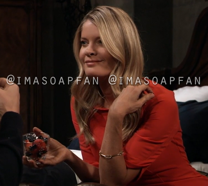 Nina Reeves, Michelle Stafford, Red Sheath Dress with Petal Sleeves, General Hospital, GH