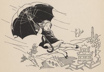 Girl getting blown away in the wind by her umbrella