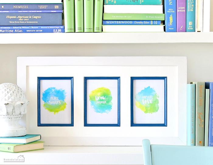 Printable frame and colorful books on bookshelf