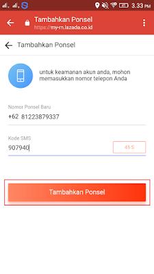 cara menambahkan nomor hp di aplikasi lazada