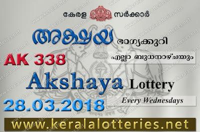 Kerala Lottery Results 28-Mar-2018 Akshaya AK-338 Lottery Result
