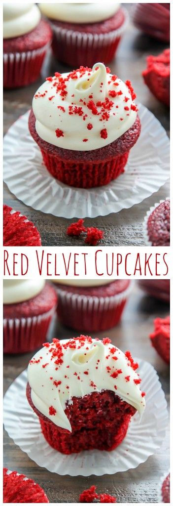 Classic red velvet cupcakes topped with cream cheese frosting! Made in just one bowl, these are easy enough to whip up any day of the week.