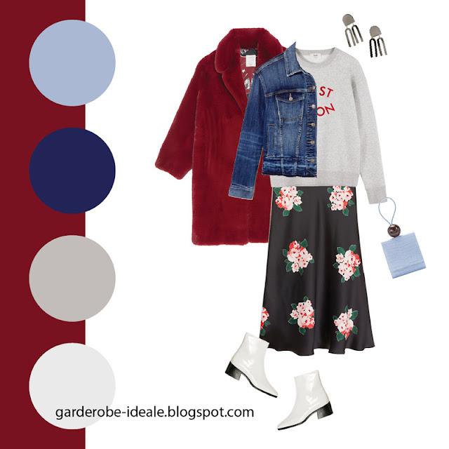Серый свитшот оверсайз с легкой черной юбкой из атласа с цветочным принтом и джинсовкой